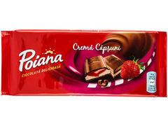Ciocolata delicioasa umpluta cu crema de capsuni 90 g Poiana