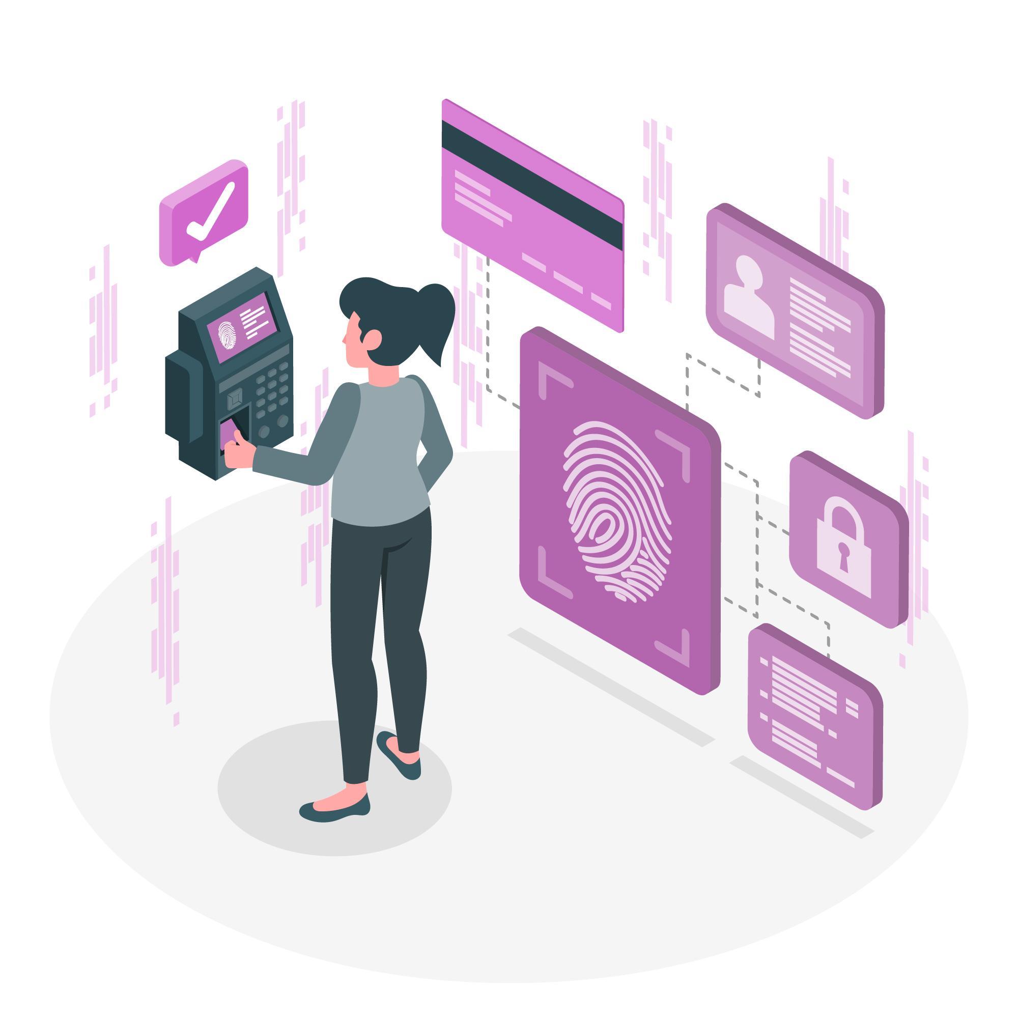 seorang wanita nasabah BRI memanfaatkan teknologi keamanan kartu chip BRI