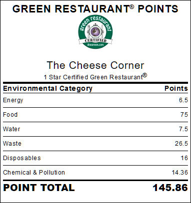 We are a Certified Green Restaurant.