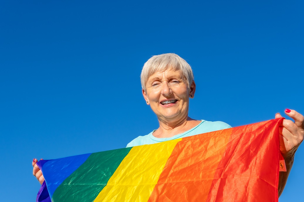 Senior woman showing support for Pride month and the LGBQT community