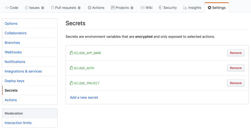 Secrets interface for GitHubActions