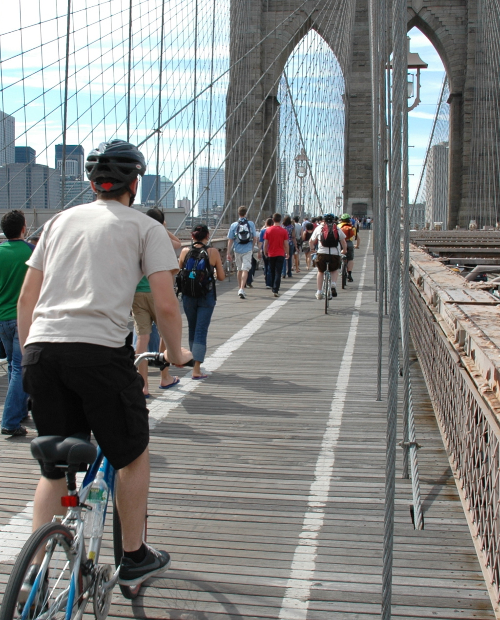 Riding up the glorious Brooklyn Bridge