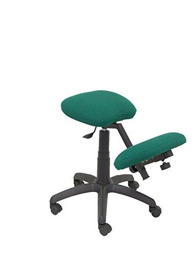 PIQUERAS Y CRESPO Modèle 37G – Tabouret de bureau ergonomique, pivotant et réglable en hauteur – Tapissé en tissu BALI couleur vert (GENOUILLÈRE RÉGABLE)