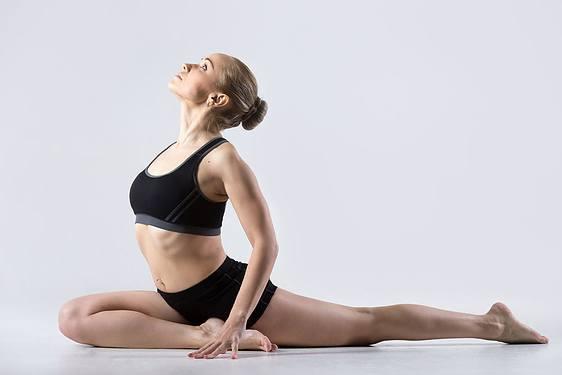 Yoga: posture du pigeon