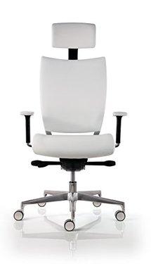 Chaise de bureau cuir blanc ultra-ergonomique