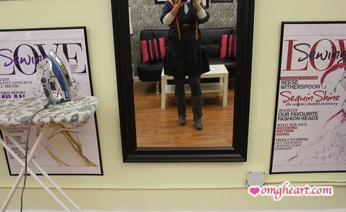 Trying my skirt on for fit at The Sewing Studio