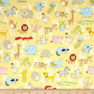 Animal ABCs Toile Organic Cotton Yellow by Clothworks $9.48 per yard