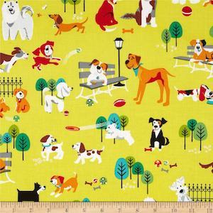 Dog Park Dogs Lime by StudioE Fabrics $9.48 per yard