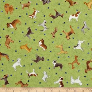 Dog Park Medium Toss Dogs Green $9.48 per yard