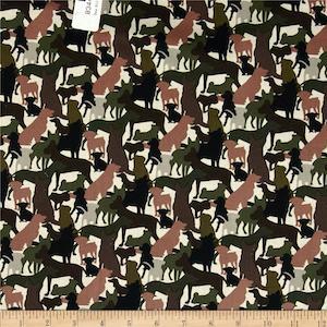 Dog Silhouettes Hunter Green by Elizabeth's Studio $9.48 per yard