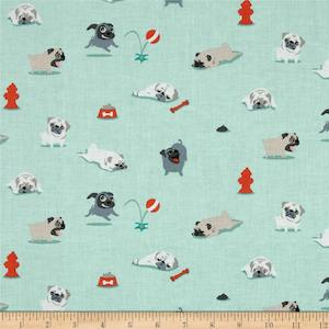Pugs and Kisses by Michael Miller $9.48 per yard