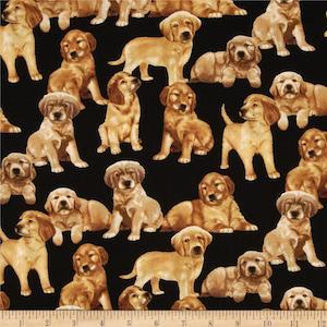 Timeless Treasures Puppies Black $9.48 per yard
