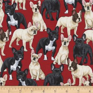 Timeless Treasures Puppies Red $9.48 per yard
