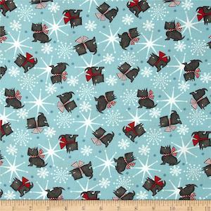 Sweetie Pie Snowmen Scottie Dog Toss Blue by Wilmington Prints, Stella Jean $9.48 per yard