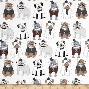 Sophisticated Pups White by Timeless Treasures $9.48 per yard