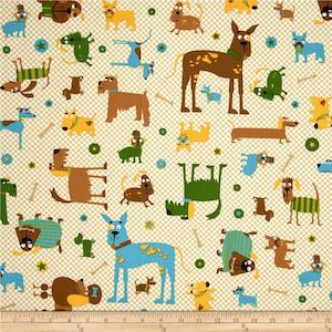 Whiskers & Tails Dogs Allover Natural by Robert Kaufman $9.48 per yard