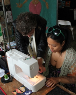 OMG! Heart learning Free Motion Quilting & Embroidery from Nina Paley
