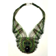 Green Feather Necklace by Ifat Creations