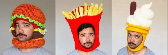 Guy Crochets Awesome Food Hats