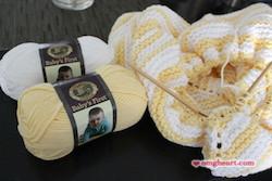 Knit Diagonal Stripe Baby Blanket