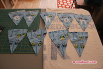 Simple Baby Bunting - The letters are ironed on and ready to be stitched.