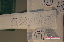 Simple Baby Bunting - The traced letters, notice they are backwards.
