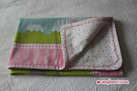 Simple Blanket - Pink with Elephant in Cotton and Cotton Flannel