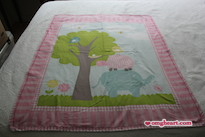 Simple Blanket - Elephant Blanket in Cotton and Cotton Flannel with Decorative Stitching