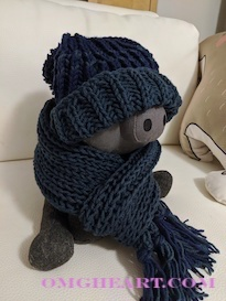 Knitted Toddler Hat and Scarf in English Rib Knit