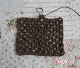 Granny Square - Rectangle in Half Double Crochet and Hook H8 [5.00mm]