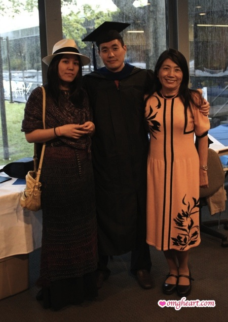 OMG! Heart in Summer Shift Dress, My Brother in Standard Issue Grad Gear, and Mom in Vintage Adolfo