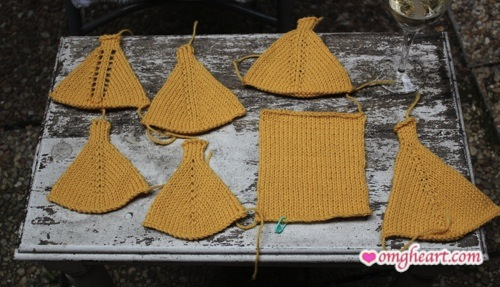 Knit Samples in Stockinette Stitch