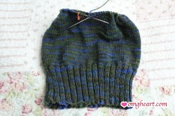 Working on the body of the hat using circular needles