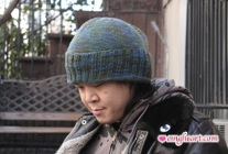 Side View - Slouchy Hat folded up for less slouch!