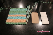 Knitted Pocket Tissue Holder - Using 1 Knitted Rectangle, 1 Piece of Cardboard, and Tissues