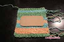 Knitted Pocket Tissue Holder - Place cardboard in center of piece