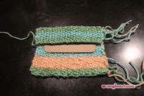 Knitted Pocket Tissue Holder - Fold top edge down over cardboard