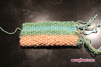 Knitted Pocket Tissue Holder - Fold bottom edge up to overlap top flap