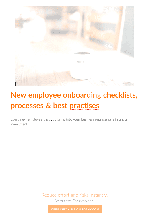 New employee onboarding checklists, processes and best practices.