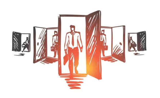 A sketch of five doors opening with office workers entering through them.