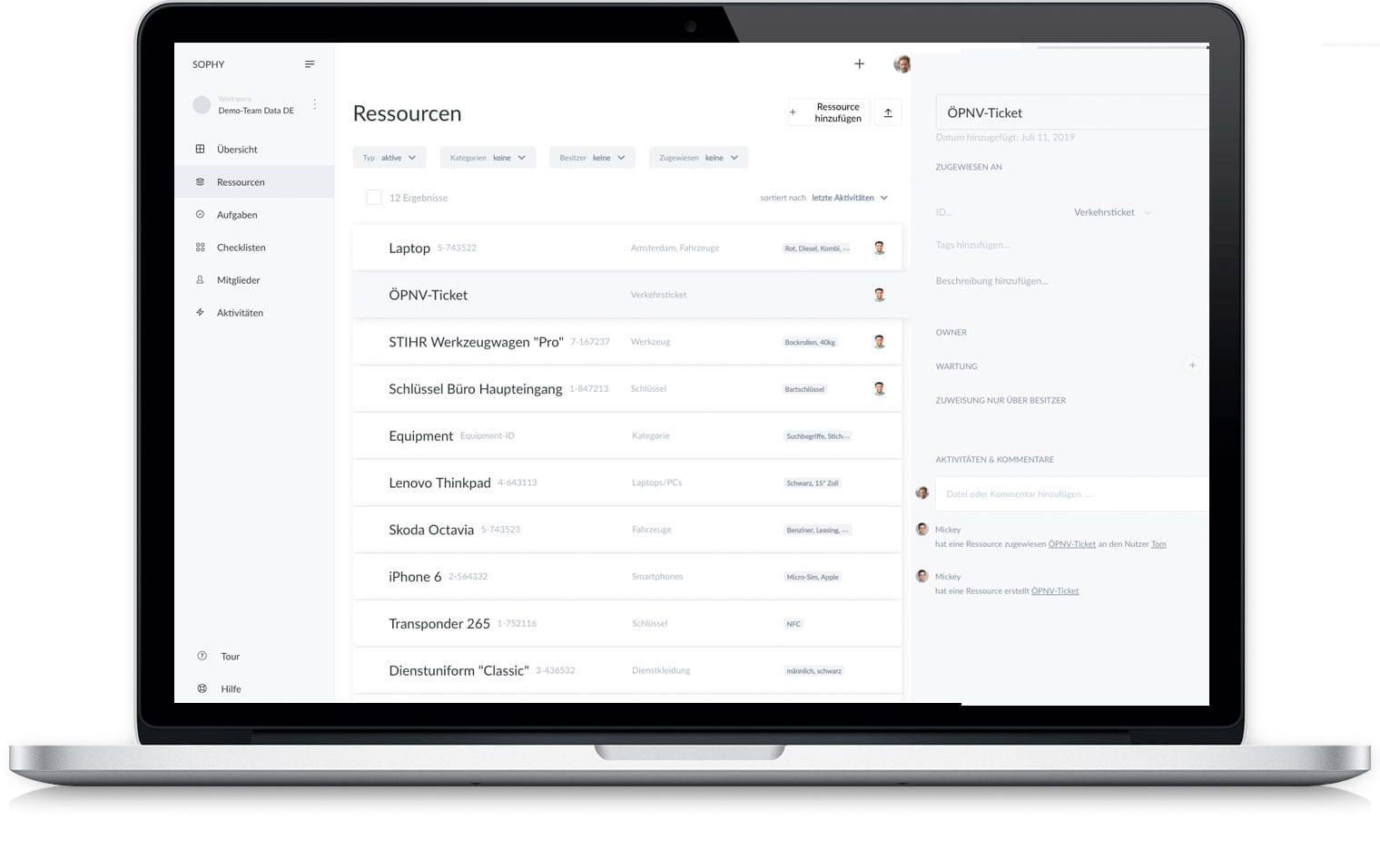 Sophy asset management screenshot