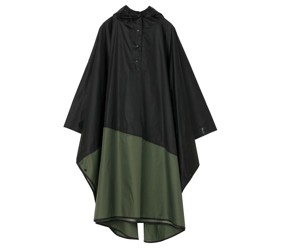 UNISEX RAIN PONCHO-BLACK×KHAKI画像1
