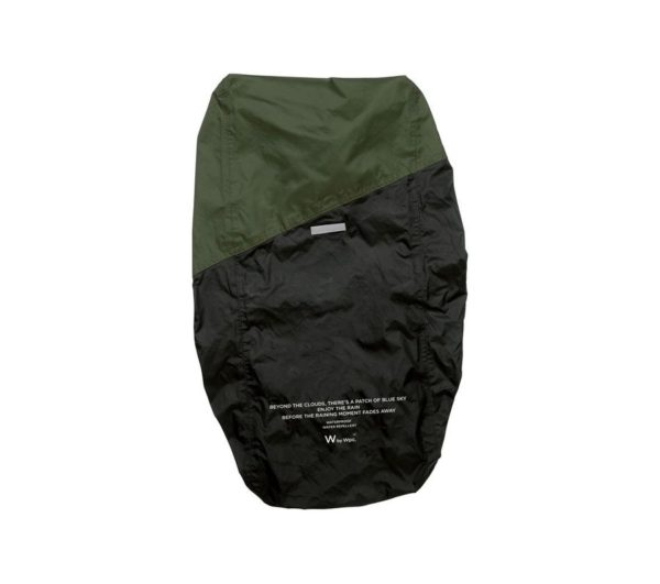 RAIN BACKPACK COVER-BLACK×KHAKI