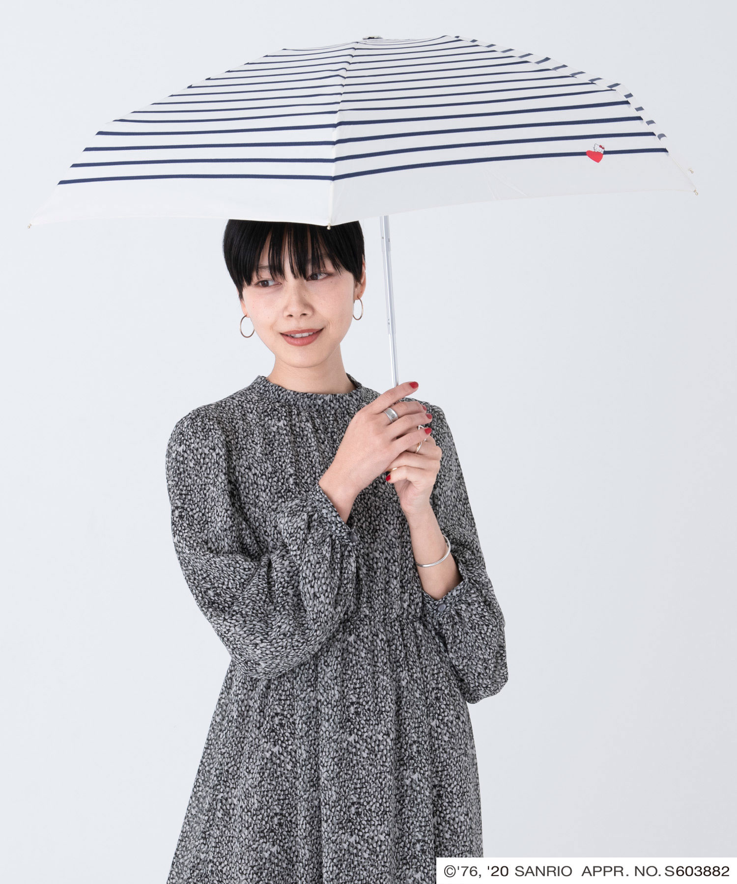 ハローキティハート&ボーダーミニ,傘