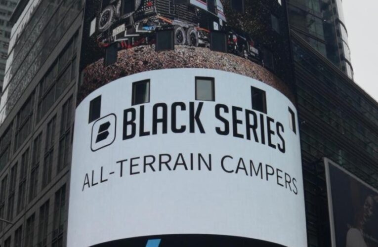 BLACK SERIES CAMPER On the Grid and featured on NASDAQ's big screen
