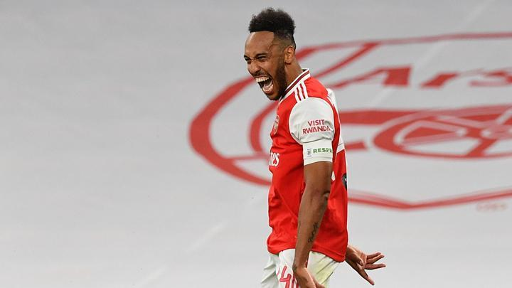 Pemain Arsenal Pierre-Emerick Aubameyang. Justin Tallis/Pool via REUTERS