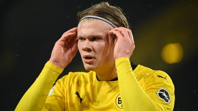 Penyerang Borussia Dortmund, Erling Haaland. [INA FASSBENDER / AFP / POOL]