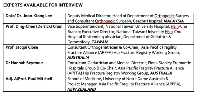 World-first Hip Fracture Registry Toolbox striving to improve care for the 1 million+ who fracture a hip in Asia Pacific each year