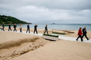 G-7 leaders at Carbis Bay in Cornwall, Britain, on June 11, 2021.