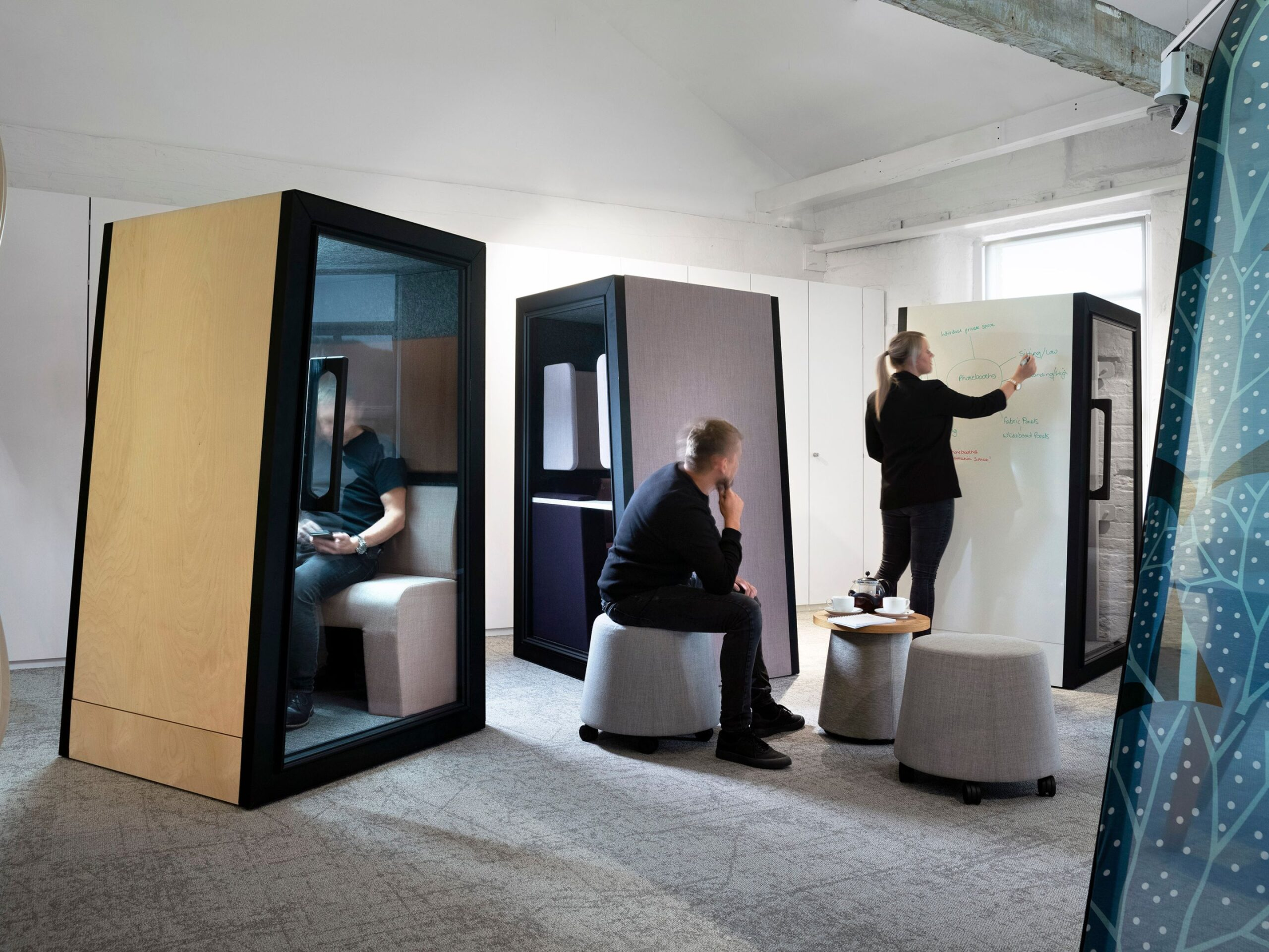 steelcase, movable screens, enclaves, office space